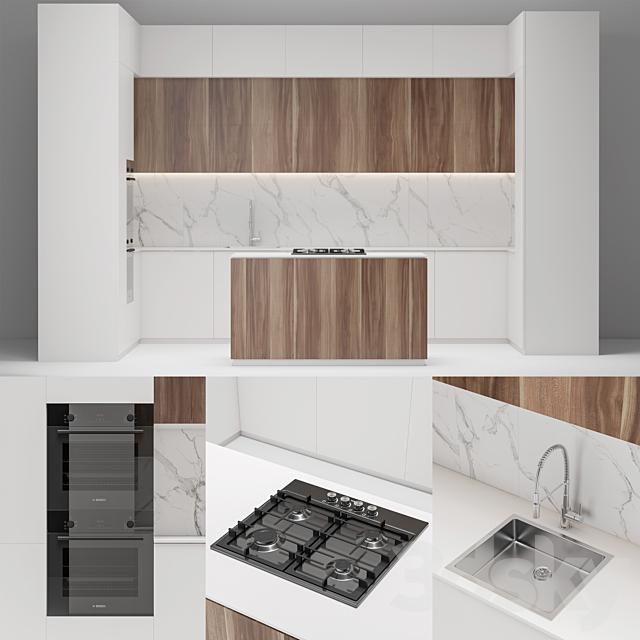 Modern white wood kitchen