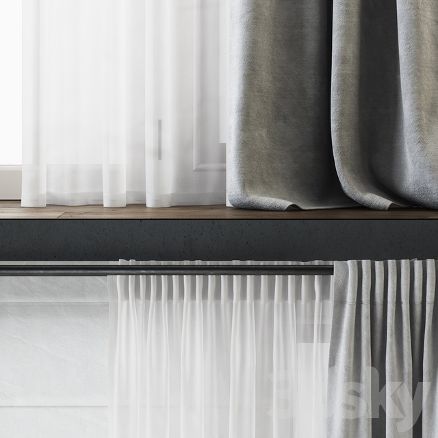 Draped Back Tab Velvet Curtains with Tulle and Roman Shade