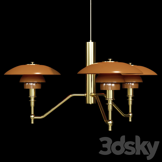 Chandelier Louis Poulsen PH3 / 2 Academy Ceiling Lamp Gold Amber Glass