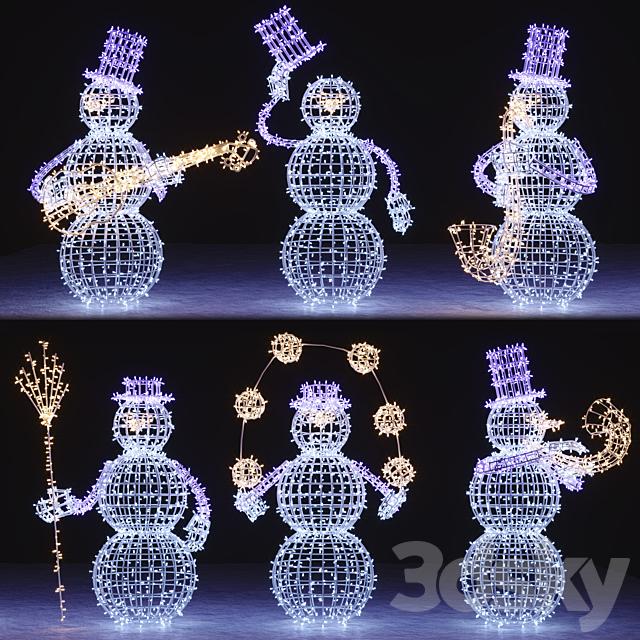 Snowman figures from garlands