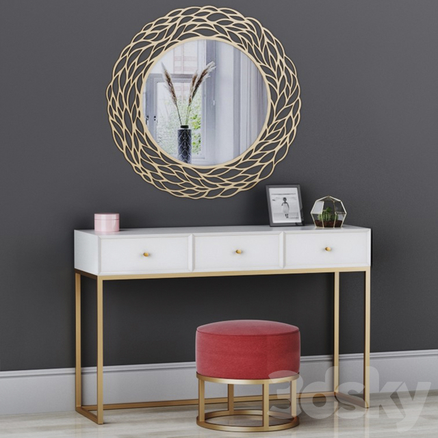 CAZARINA interiors   Dressing table with mirror and ottoman