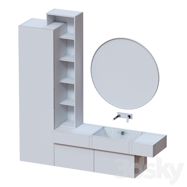Cabinet with a cupboard in the bathroom.