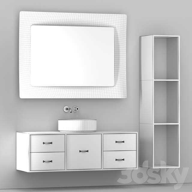 Bathroom furniture with a mirror and a washbasin