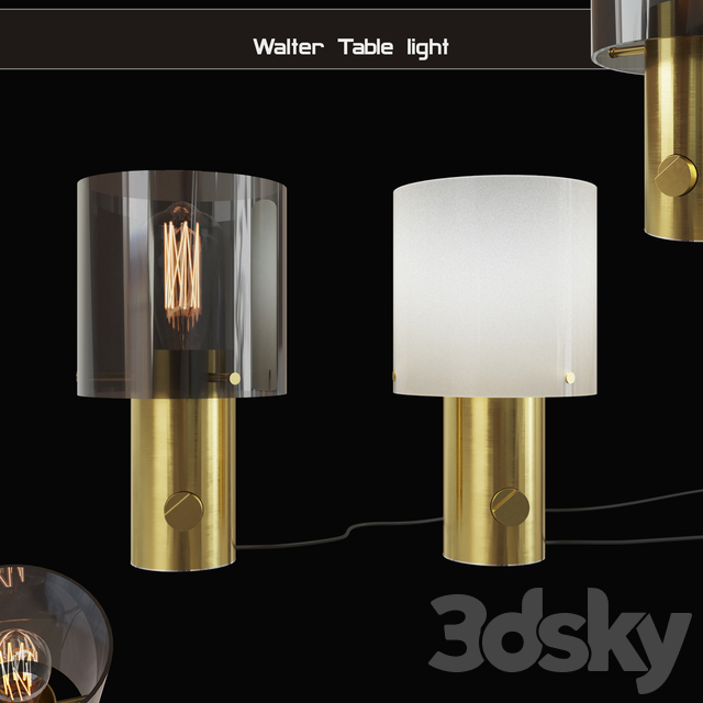 ORIGINAL BTC Walter Table light Size 1 Anthracite Glass & Brass