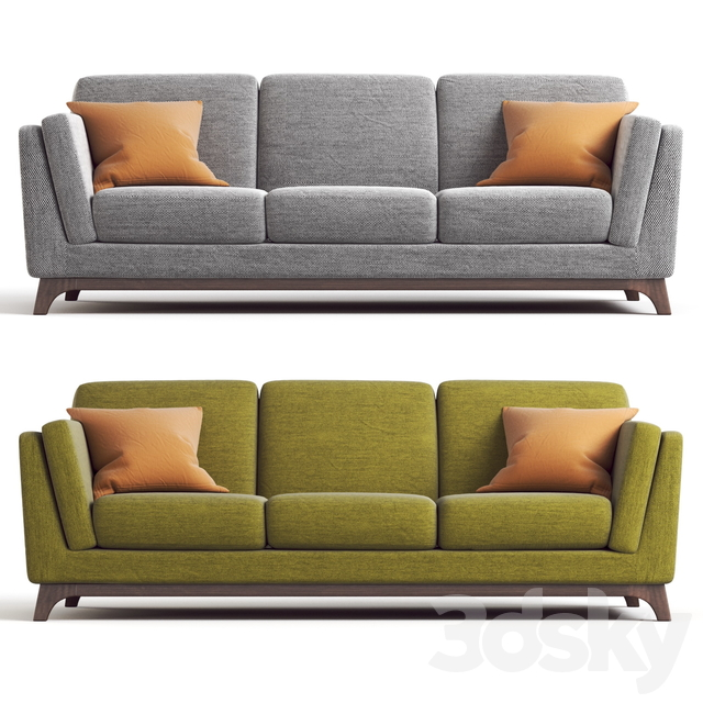 ARTICLE Ceni Sofa. Pyrite Gray and Seagrass Green upholstery variants.