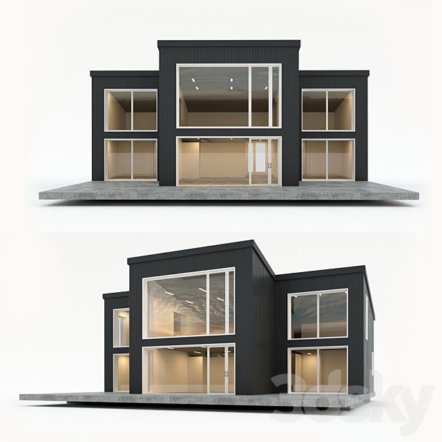 Two-storey residential building. Prefab house. nine