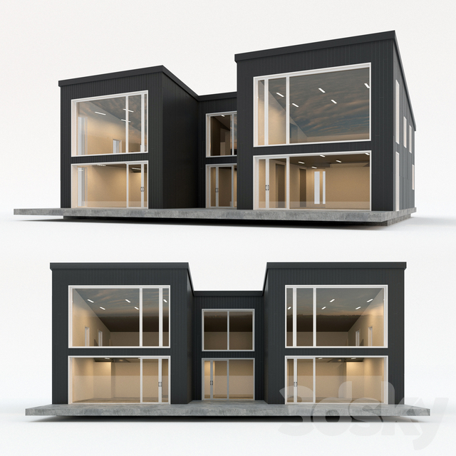 Two-storey residential building. Prefab house. eleven