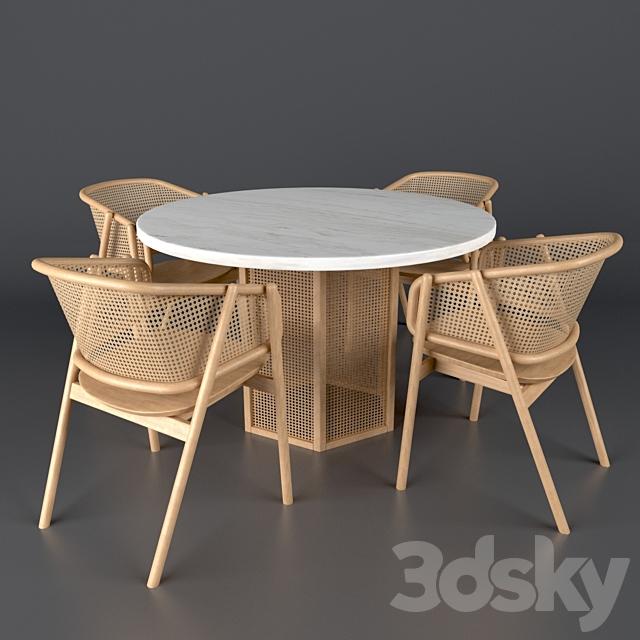 3d models: Table + Chair - Cane armchair-01 with Atrium ...