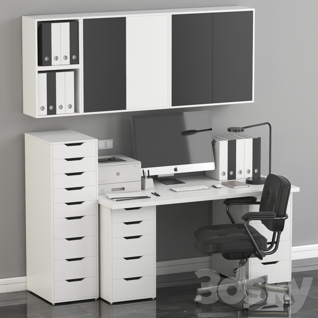14d models: Office furniture - Ikea Office Workplace with Alex