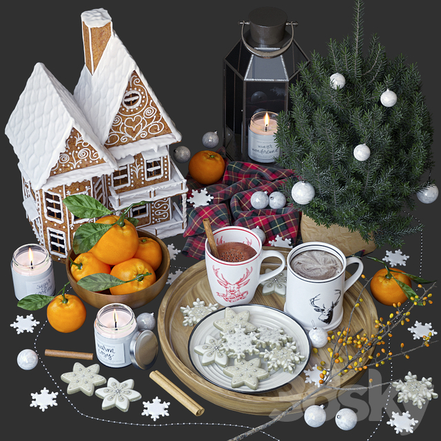 Decorative set with gingerbread house