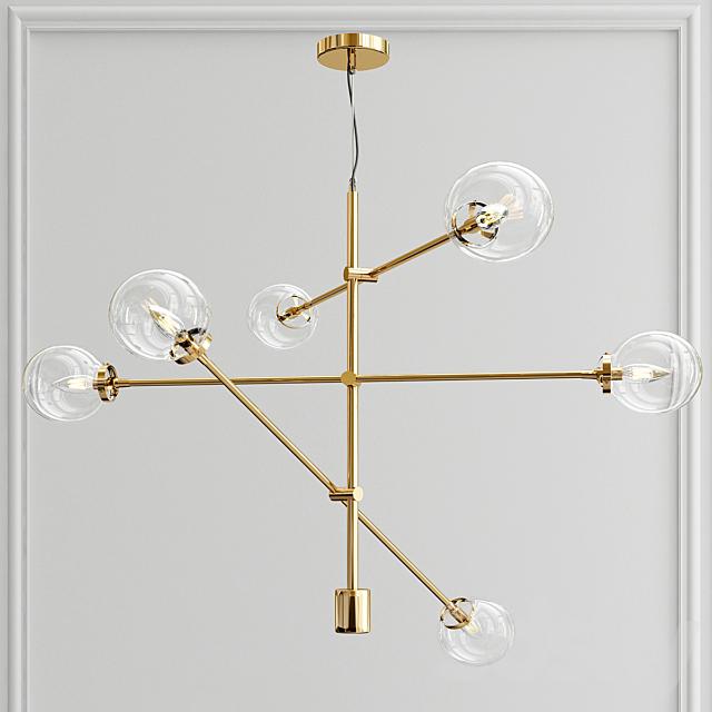 3d Models Pendant Light Bailey Antique 6 Light Sputnik Modern Linear Chandelier