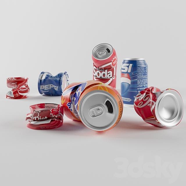 Crumpled aluminum cans
