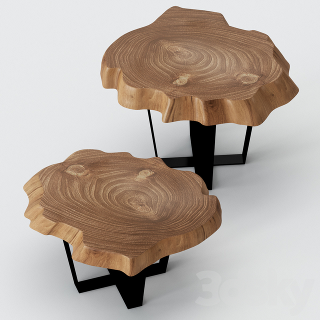 Coffee tables made of slab.