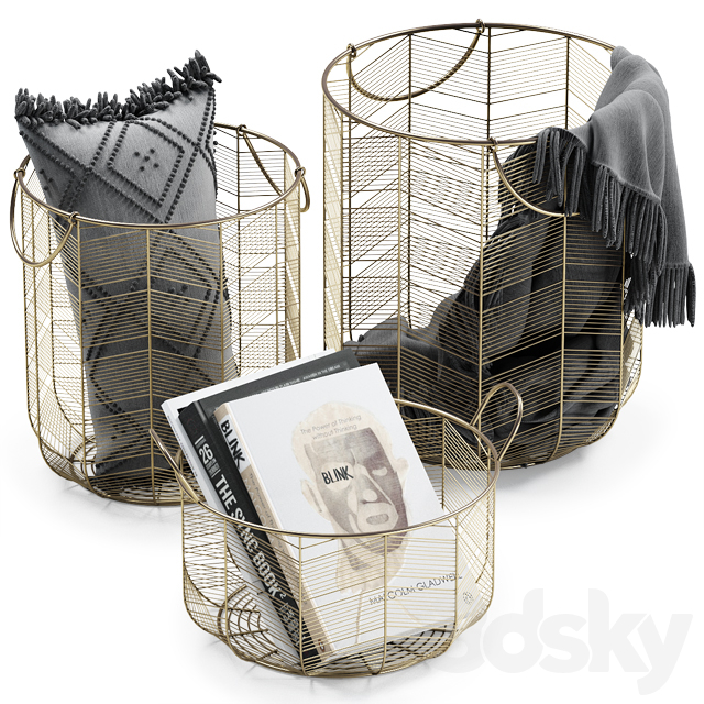 10d models: Decorative set - METAL BASKETS DECOR