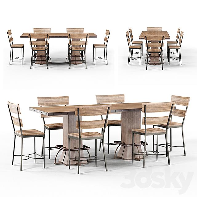 Loft Roxie Walnut Wood Brown Metal height Dining Set