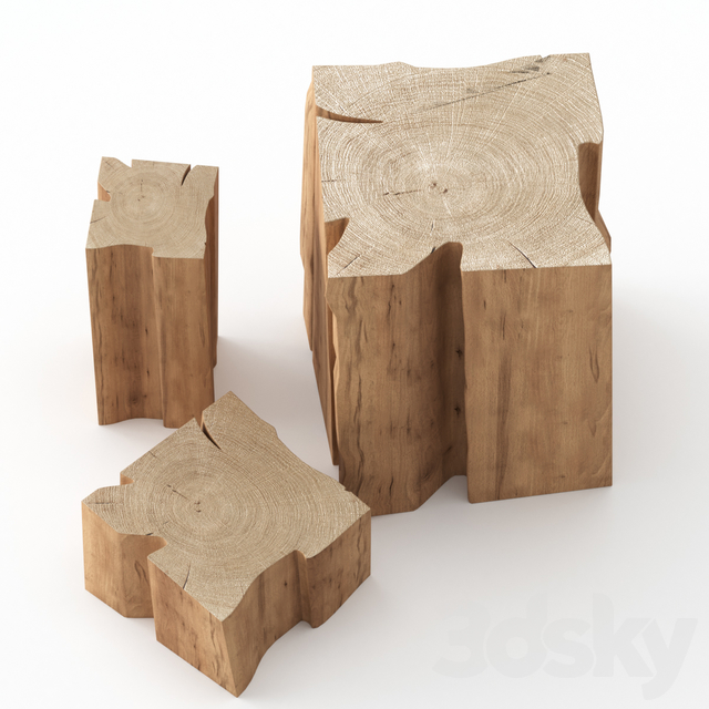 Three coffee tables made of stumps.