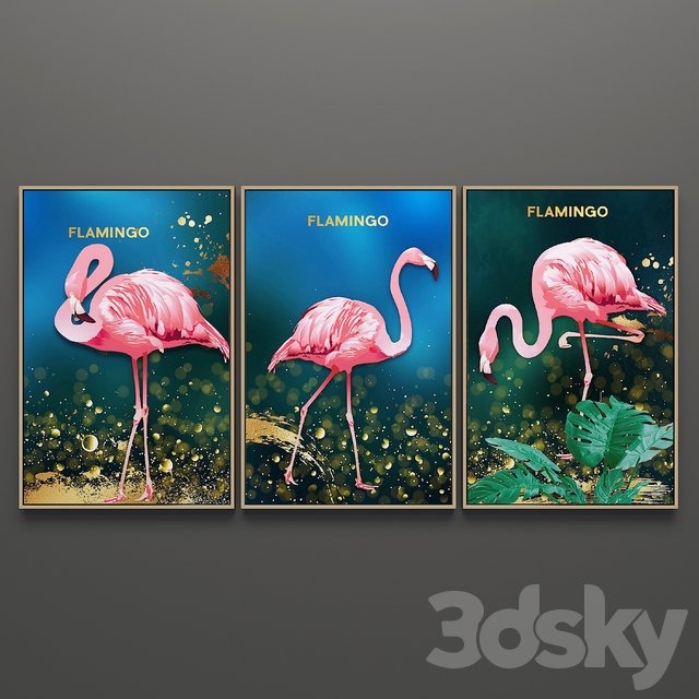 Set of triptych paintings 62