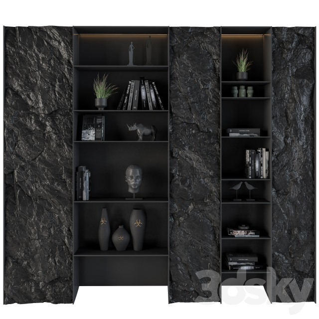 Display cabinet with Rock panel Black