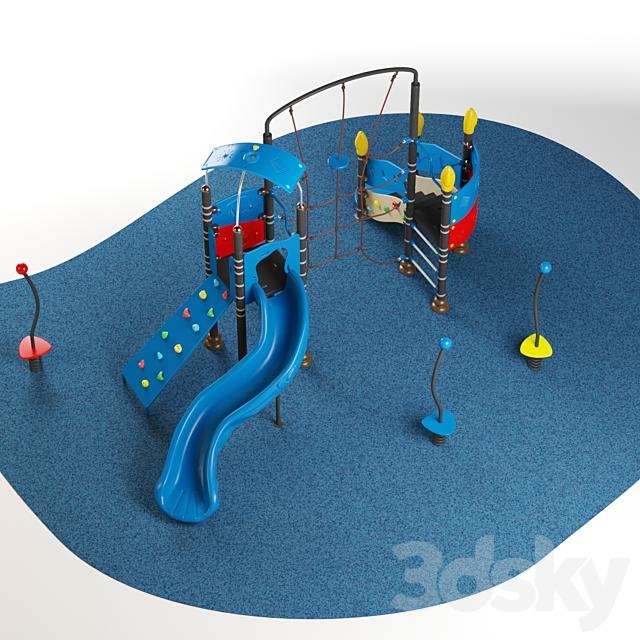 Kids playground equipment with slide climbing 05