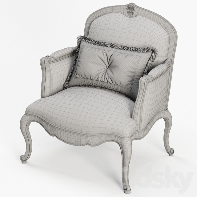 French Hand Carved Frame Bergere Armchair