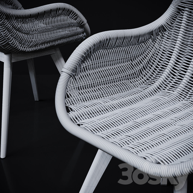 RATTAN DINING CHAIR WITH ARMS