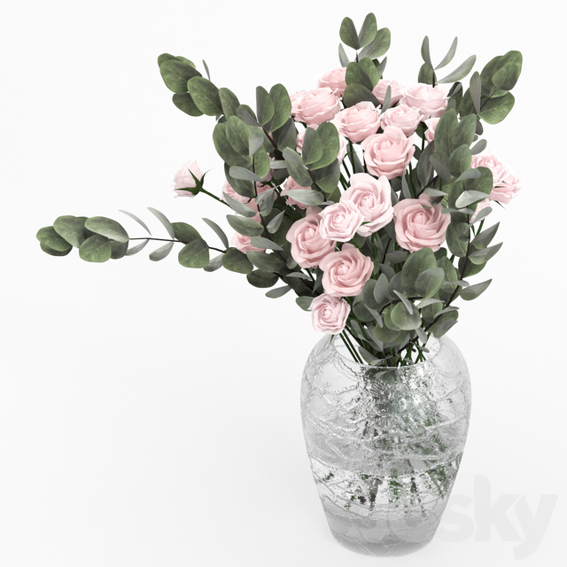 Shrub roses with eucalyptus.