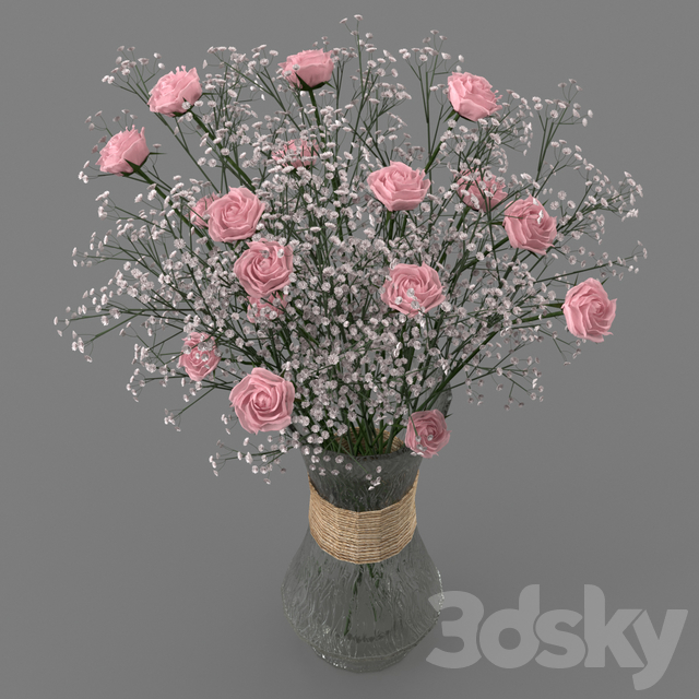 Bouquet of spray roses and gypsophila
