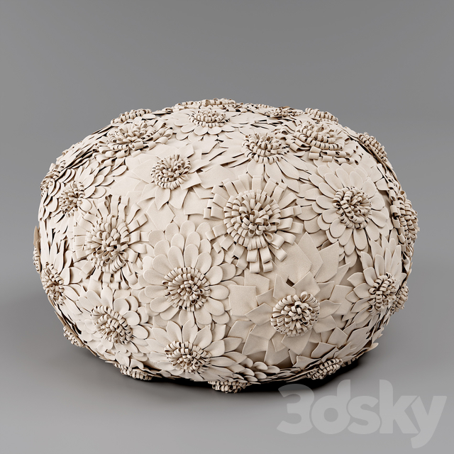 WOOL FLOWER APPLIQUE POUF, Restoration Hardware