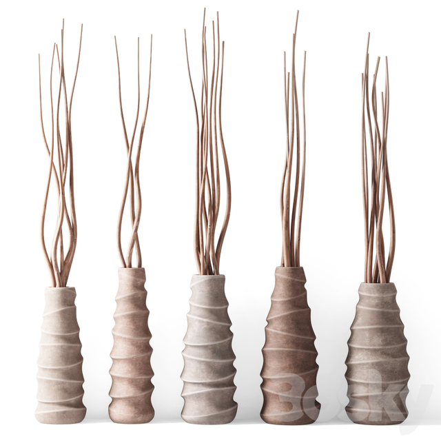 Dry branches in figured vases