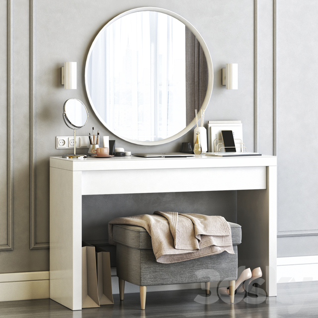 3d Models Dressing Table Ikea Malm Dressing Table With Langesund Round Mirror And Strandmon Gray Ottoman