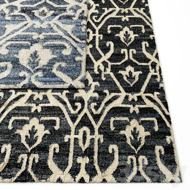Scroll Vintage Denim and Wool Flatweave Rug RH Collection