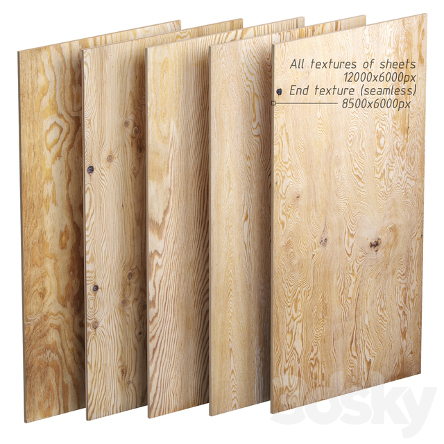 Set of plywood sheets. 5 items