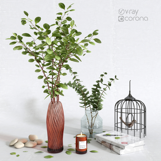 Decorative set with eucalyptus in a vase # 2