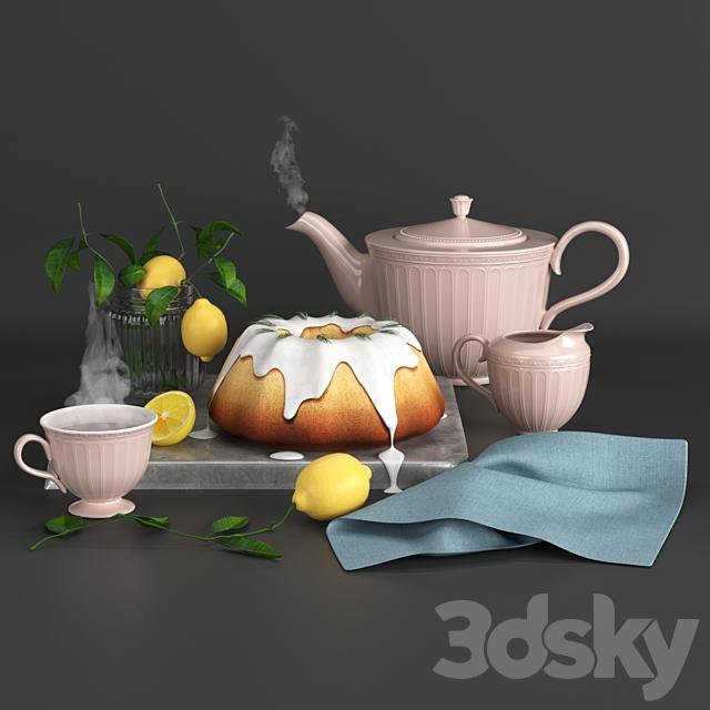 Set with lemon cake