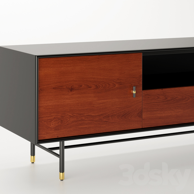 Modernist Wood & Lacquer Media Console