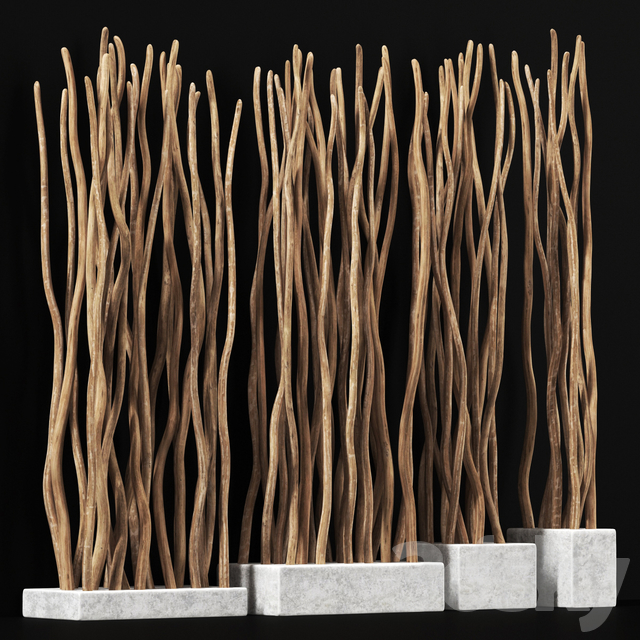 Planter small branch crooked n4 / Small pots with curved branches
