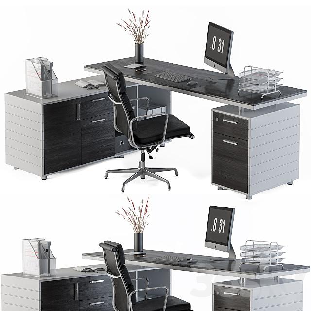 Office Furniture Gray Black Manager Set
