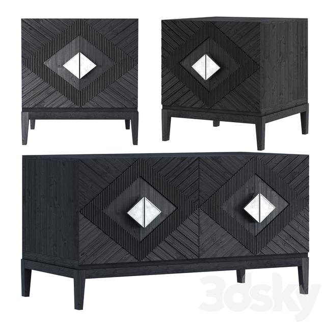 Samuel Console & Drawer-Black