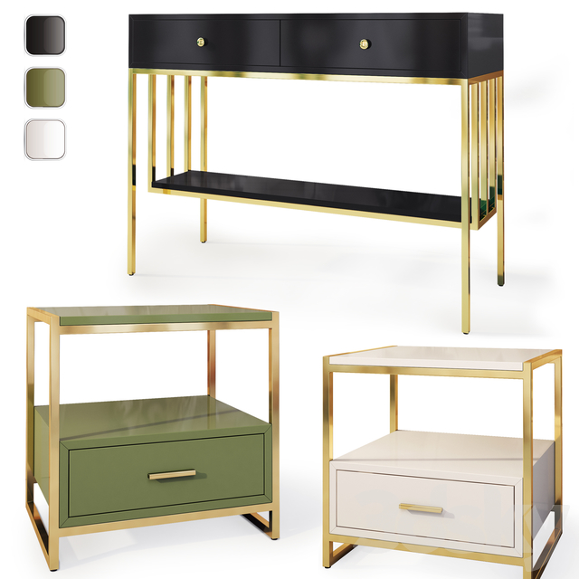 Cabinet and chest of drawers / console Art Deco. Console dresser, nightstand by Wooden Kors