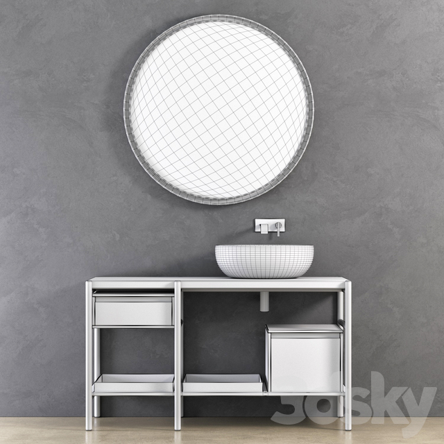 NIC Design Velo sectional unit, SOLO mixer, MILK washbasin, PARENTESI round mirror