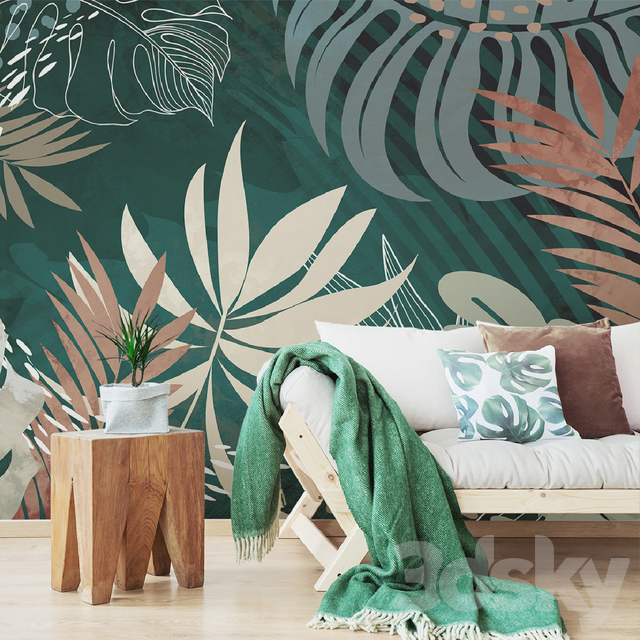 Creativille | Wallpapers | 5211 Freehand Tropical Leaves