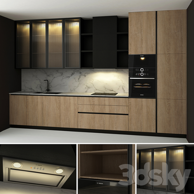Kitchen with Glass Flutes
