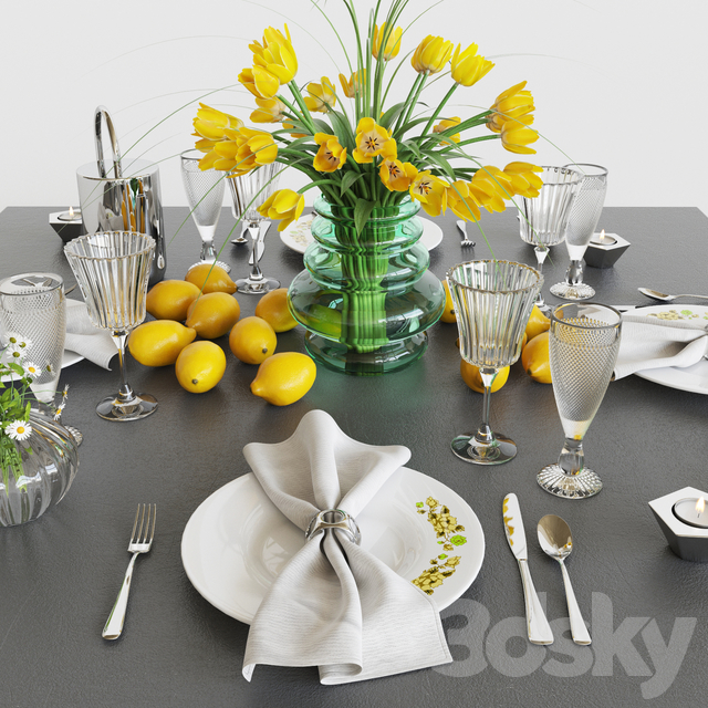 Serving with yellow tulips
