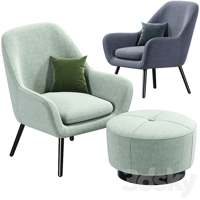 Memphis armchair and pouf