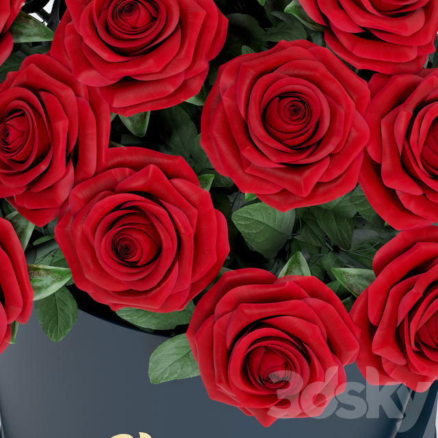 Bouquet of red roses in a box