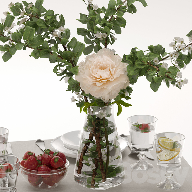Table decor with blooming apple tree