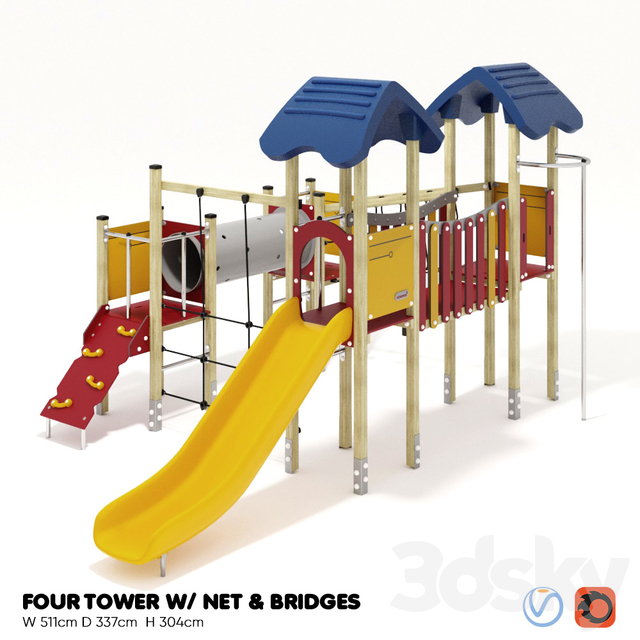 KOMPAN. FOUR TOWERS WITH NETWORK AND BRIDGES