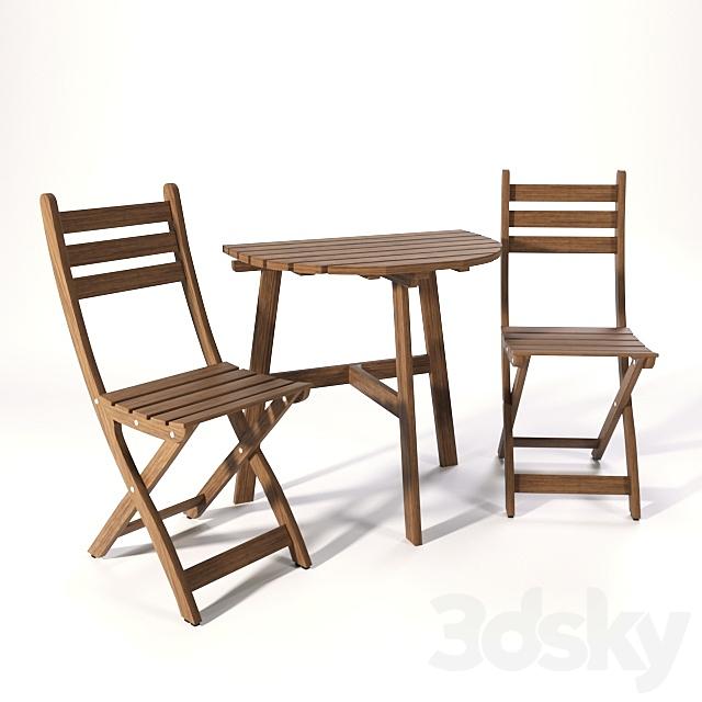 3d Models Table Chair Set Of Garden Furniture Askholmen Ikea