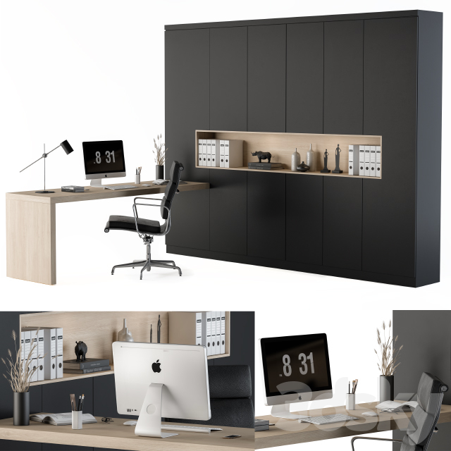 Workplace L Type Desk and Wardrobe Black