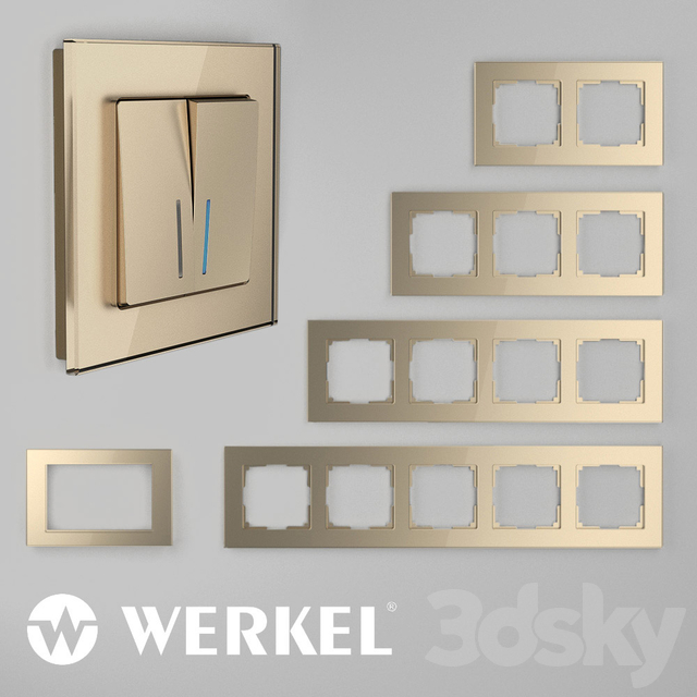 OM Glass frames for sockets and switches Werkel Favorit (champagne)